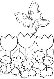 Desenho como desenhar estação da primavera flores passaros borboletas pintar e colorir