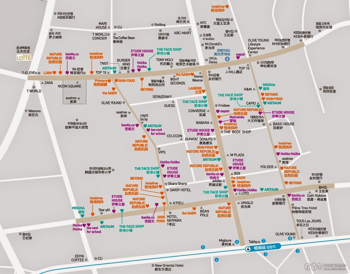 Myeongdong map Street Food Comestic Shops OPPA