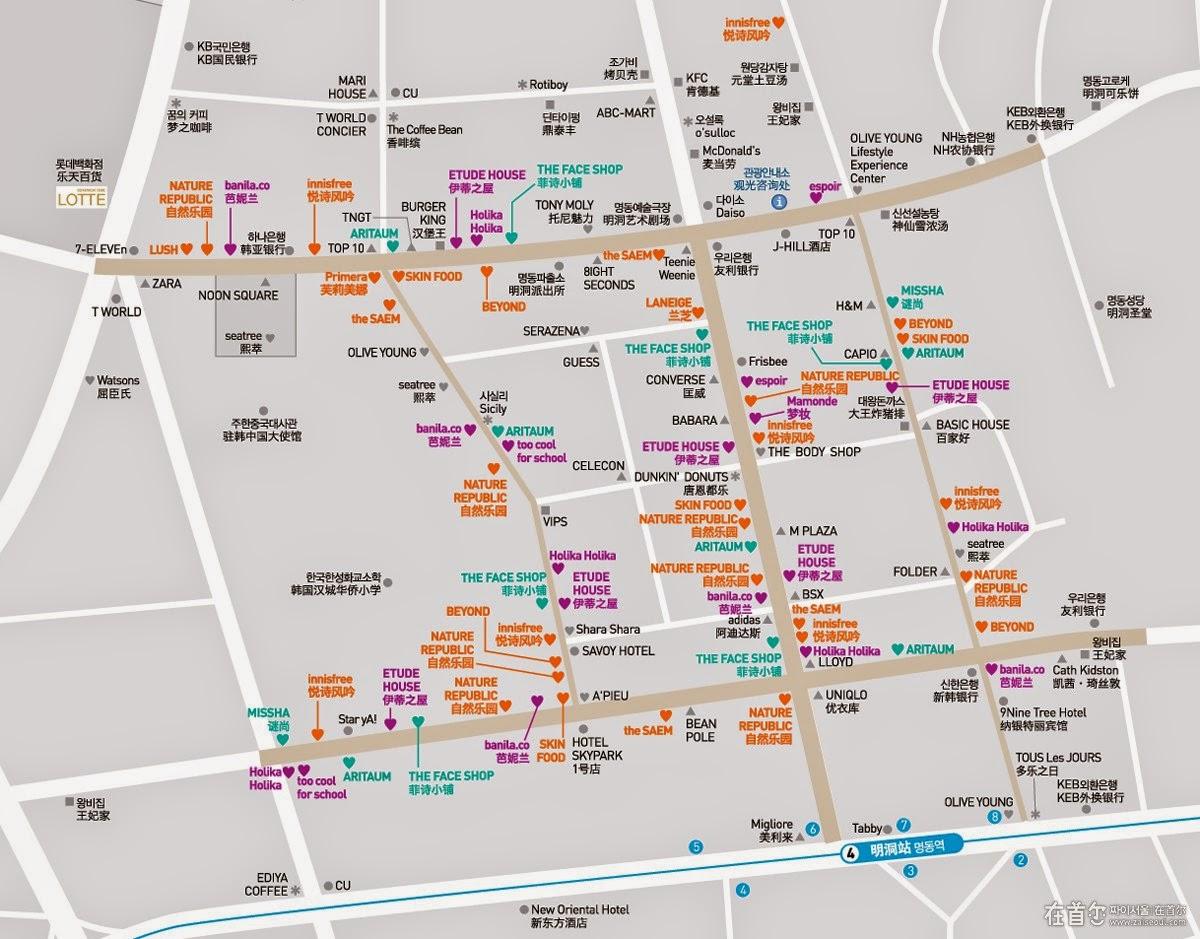 Myeongdong map street food comestic shops House map photo