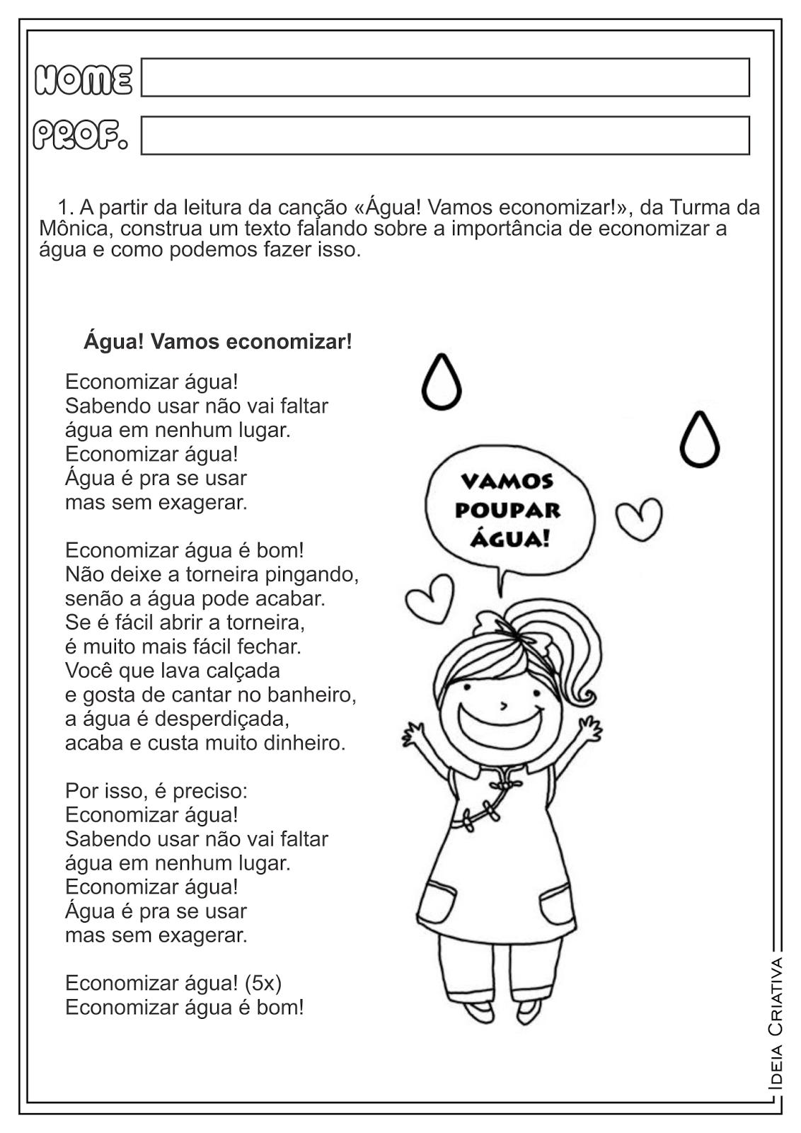"""Atividade Produção de Texto Dia da Água """"Água! Vamos economizar"""" Turma da Mônica"""