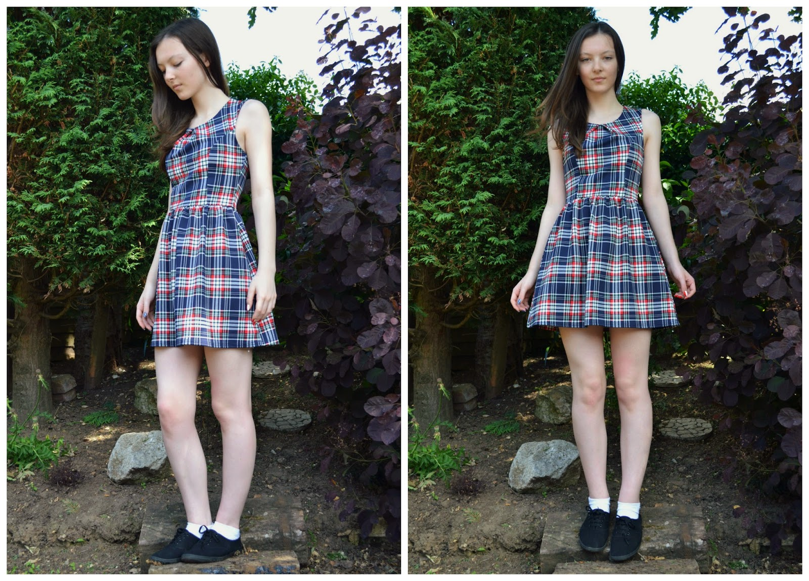 New Look Navy Plaid Inverted Pleat Skater Dress