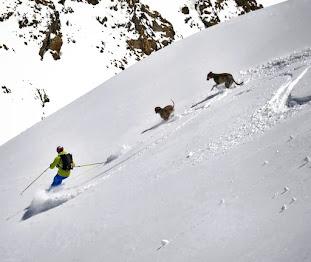 Esquiando junto a Tuca y Kilian, mis dos amores