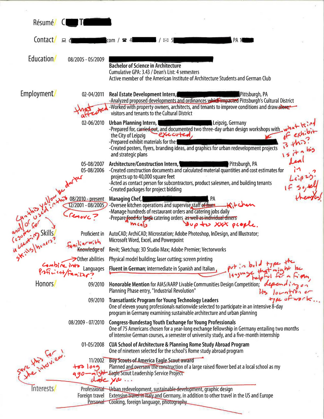 Intern 101: Redlined Resumes: straightforward, clear, and sharp