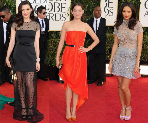 Rachel Weisz (Louis Vuitton), Marion Cotillard (Christian Dior Couture) and Thandie Newton (Giles)