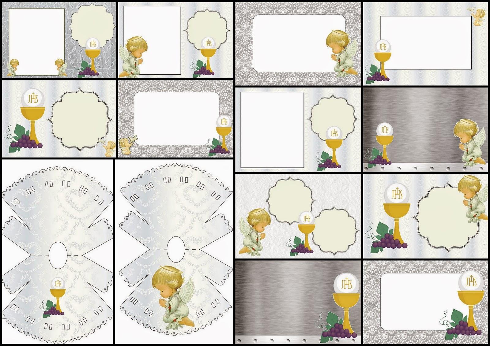 Primera Comunión: Invitaciones con Diseño en Plateado y Ángeles de ...