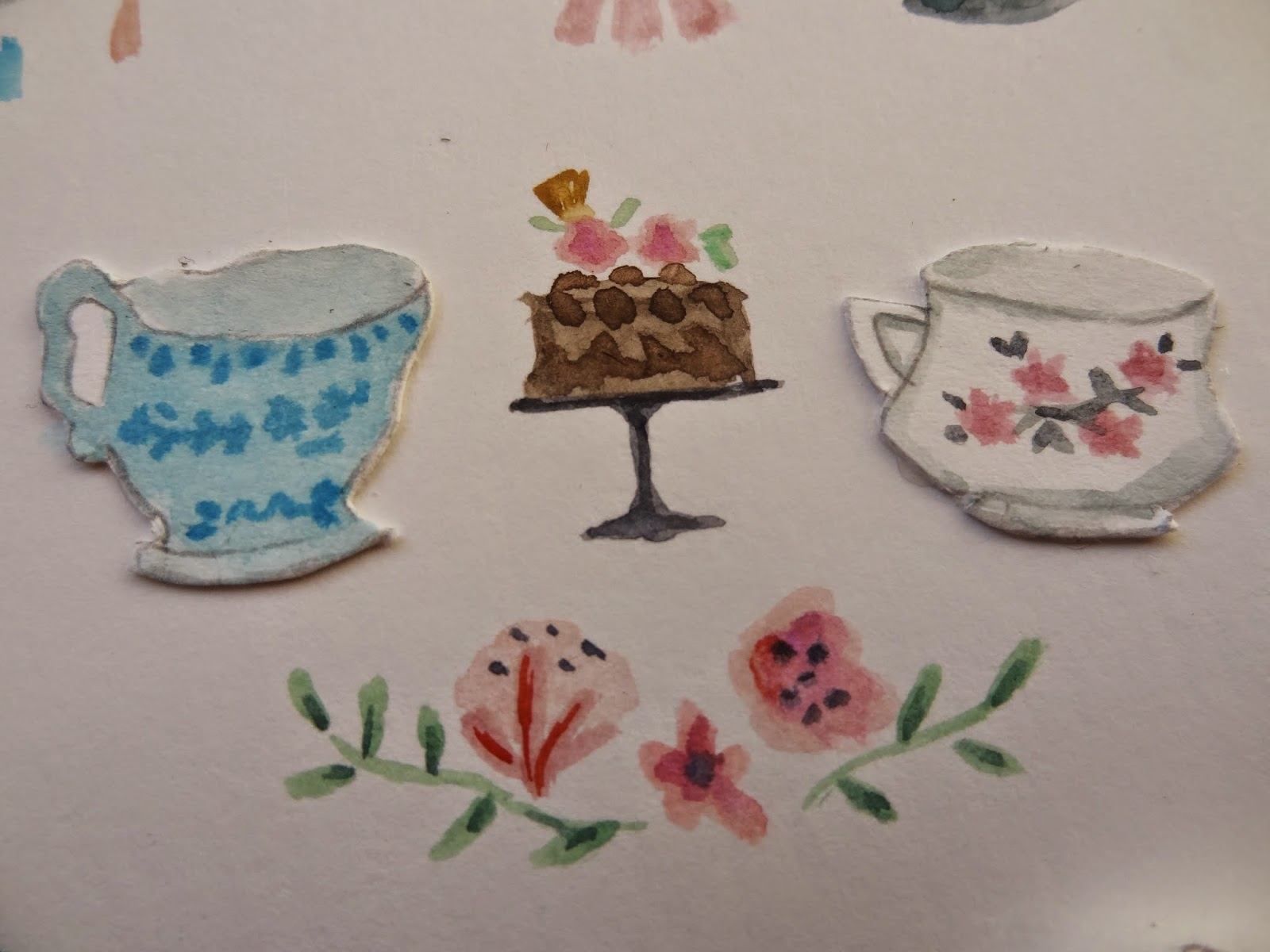 paint illustrator craft tea time cake sweet pastel flowers tacitas hora del té