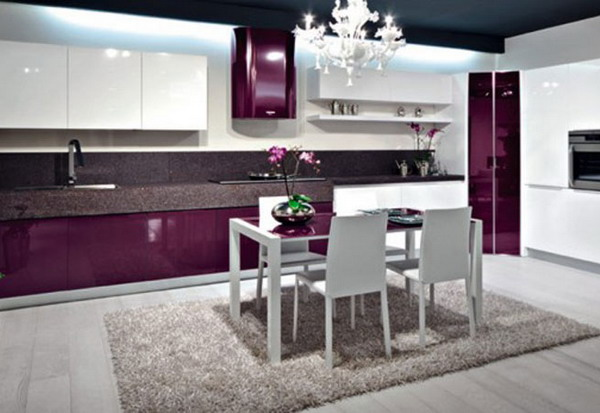 Purple Modern Interior Designs Kitchen  Home Design Ideas