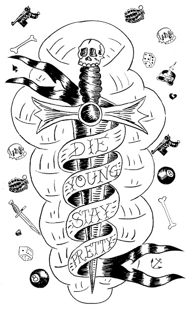 die young stay pretty dagger logo weapons rockabilly banner vintage tattoo