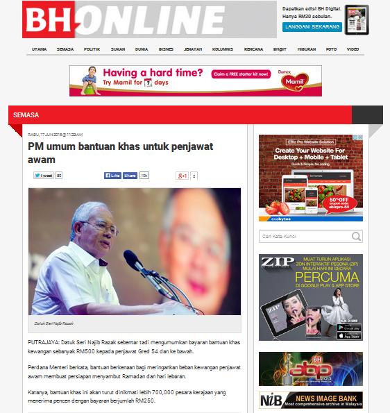 Bantuan Khas RM500 Penjawat Awam Raya 2015