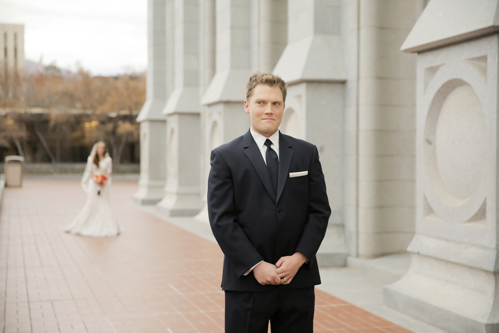 Salt Lake City LDS Temple Wedding, first glance