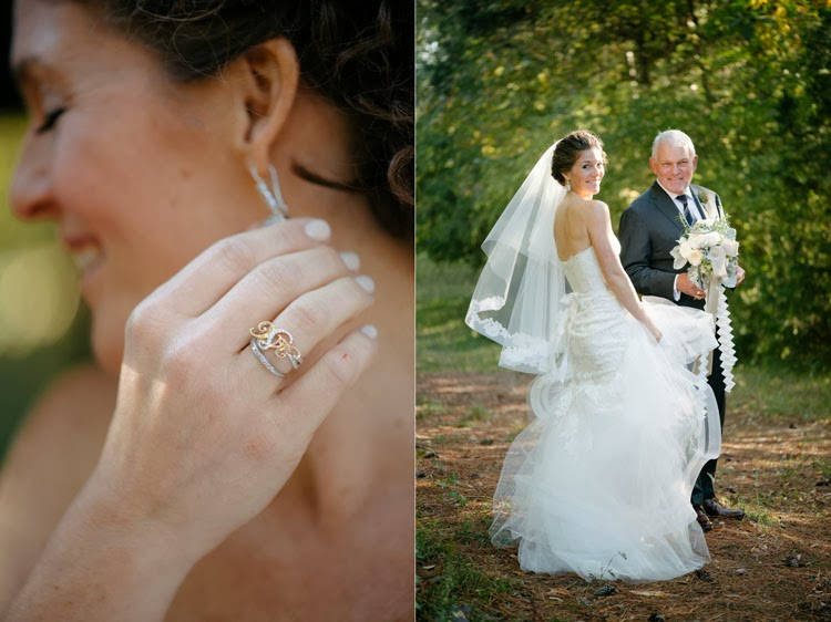 bride touching her blue earring with her monogram ring before walking down the aisle