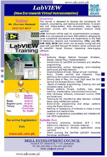 4th Batch of LabVIEW training, Skill Development Council trainings, Trainings in Islamabad, SDC Trainings,