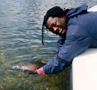 Shown here releasing a bonefish, Clemons found great enjoyment in fishing Keys waters. (Photo courtesy of Redbone Celebrity Tournament Series)