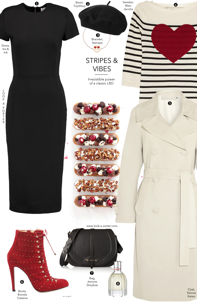 How to style little black dress for a day off and Parisian-style casual outfit via www.look-a-porter.com