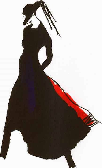 black and red coat fashion illustration by Zoltan
