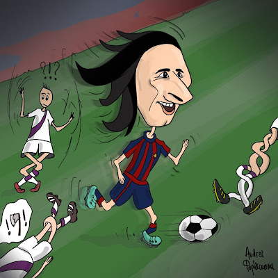 comic cartoon caricatura leo messi fc barcelona playing football dribbling defenders on the pitch