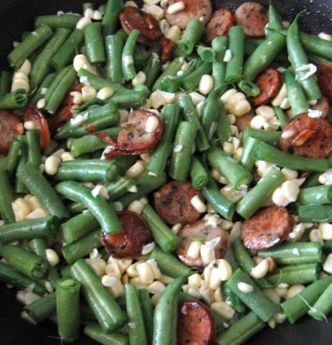 Chicken sausage with corn and green beans