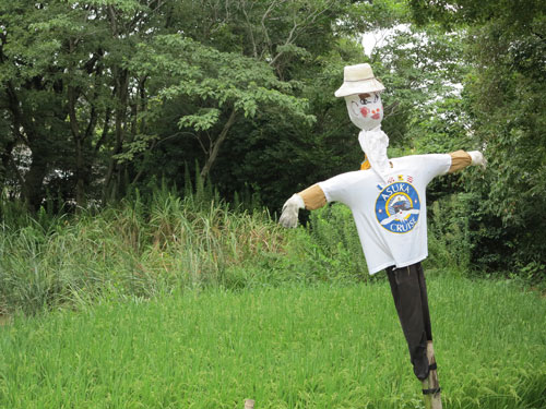 Scarecrows in Japanese field