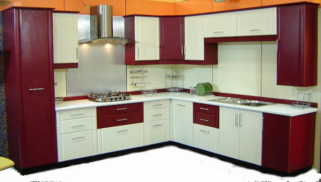 Dual color combination modular kitchen desing