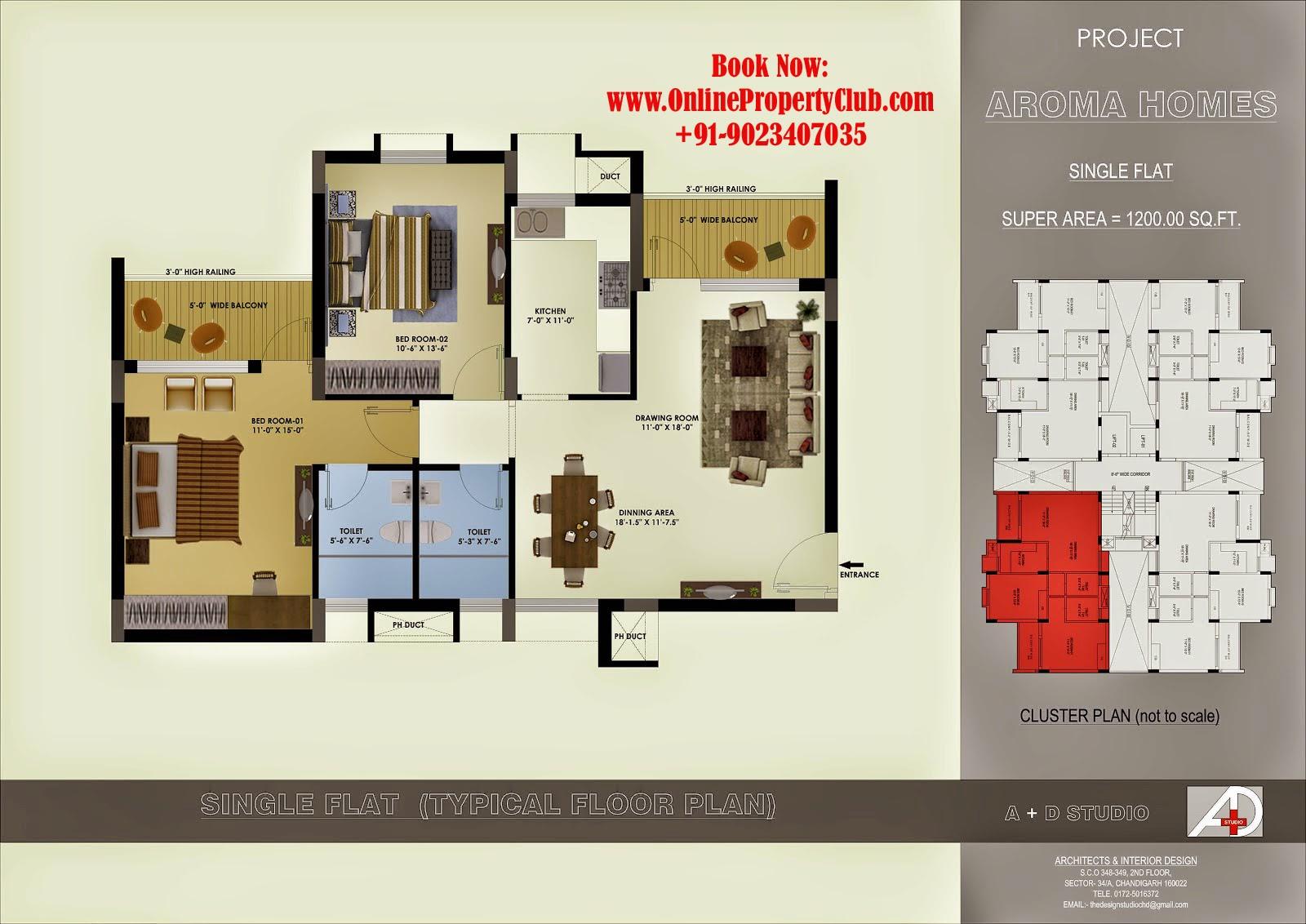 aroma heights mohali sec-125 kharar 2,3bhk flats