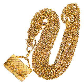Vintage 1990's Chanel gold chain necklace with purse charm