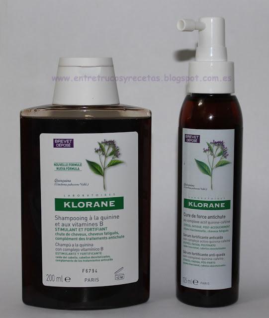 Champú y Serum Fortificante a la Quinina de Klorane para frenar la caída del cabello.