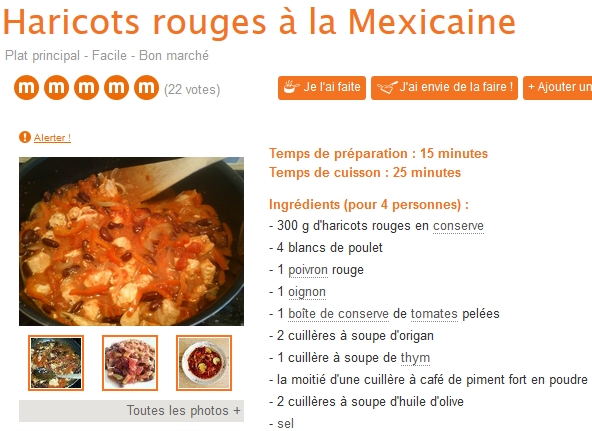 haricots rouges à la mexicaine