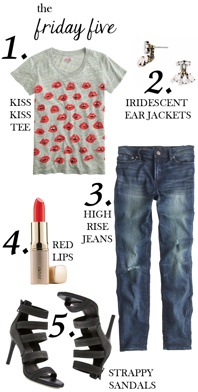 the friday five kiss kiss tee, ear jacket, high rise jeans, jouer lipstick, strappy black sandal heels M Loves M @marmar