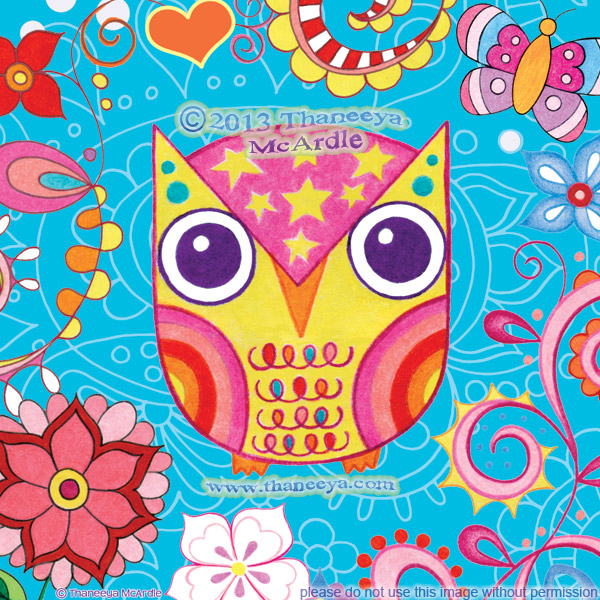 Colorful Owl Art Rainbow The