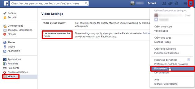sur Facebook désactiver l'auto-lecture des vidéos