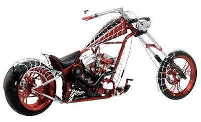 Modification Choppers Motorcycles Airbrush Spider Web Design
