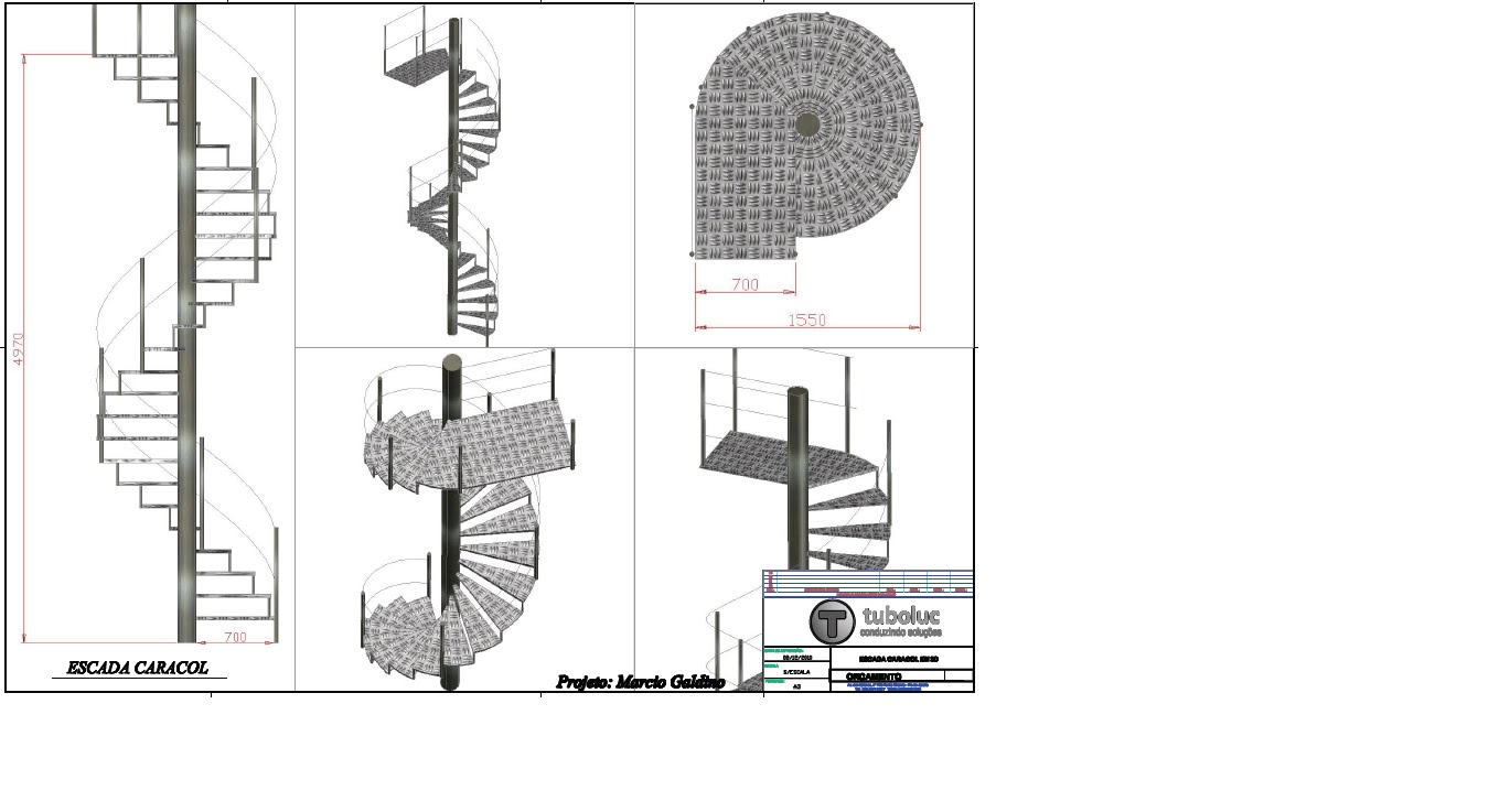 Marcio Desenhos E Projetos 2d 3d Escada Caracol