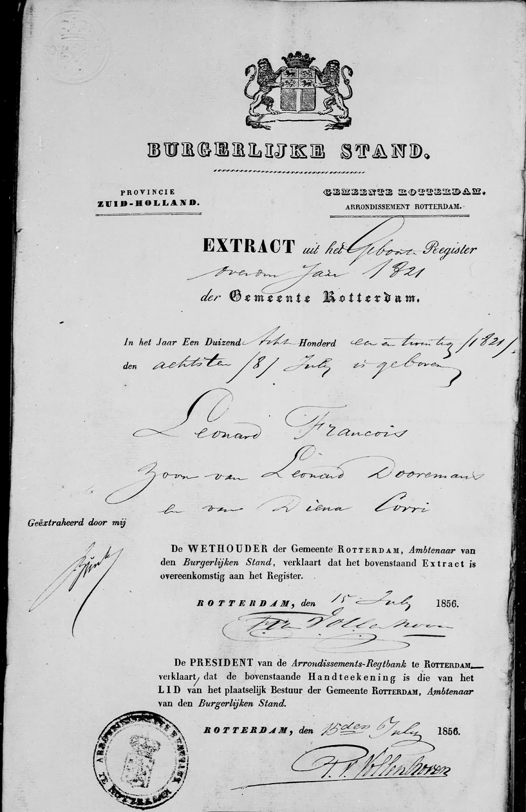Copy birth registration Leonard Francois Dooremans