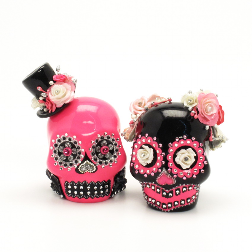 day of the dead wedding cake topper mexican skull 00042