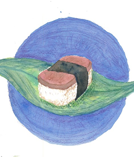Spam Musubi Drawing Fried Spam on a Bed of