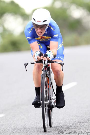 Morgan Smith, Auckland, elite men time trial, on Puketapu Rd - Elite Road National Championships, part of the Summer Cycling Carnival in Napier. photograph