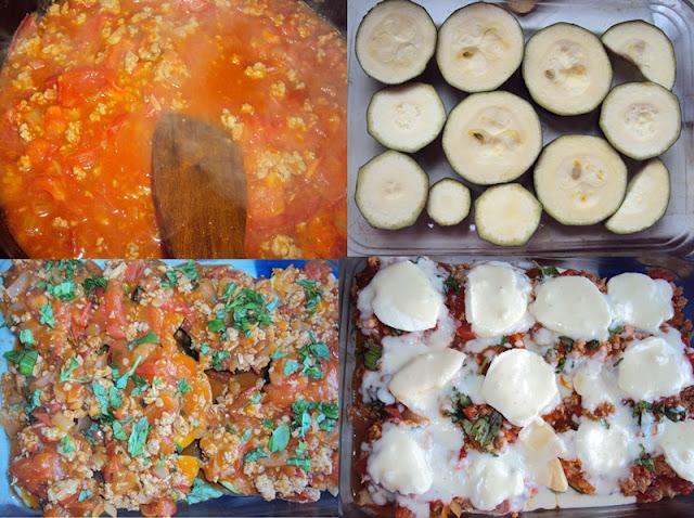 Zapiekanka z cukinii z mięsem mielonym i sosem beszamelowym