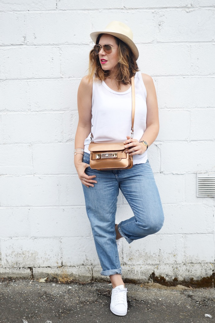 Proenza Schouler PS11 bronze handbag Gap boyfriend jeans outfit
