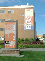 huge residence hall banner on side of building