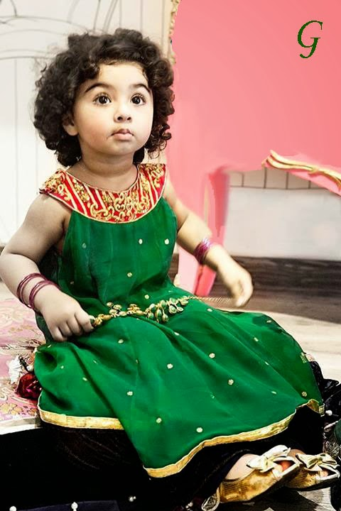 Indian-Babies Pictures-Green-Frocks-Kids Pics