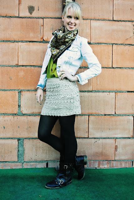 Charlotte Russe denim jacket, lace skirt, combat boots, vintage scarf, style blogger