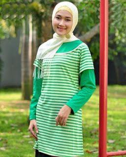 Kaos Muslimah Exora A-036 Salur Hijau