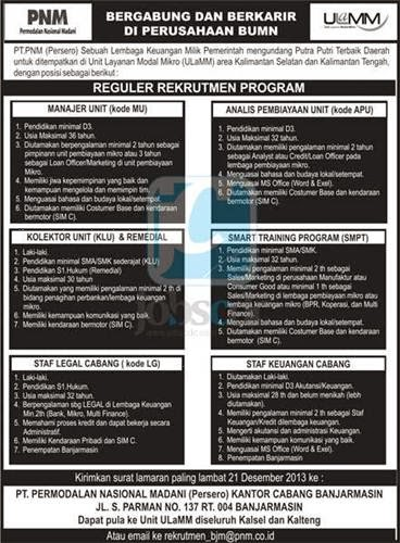 Recruitment Program SMA/SMK, D3, S1 PT PNM (Persero) December 2013