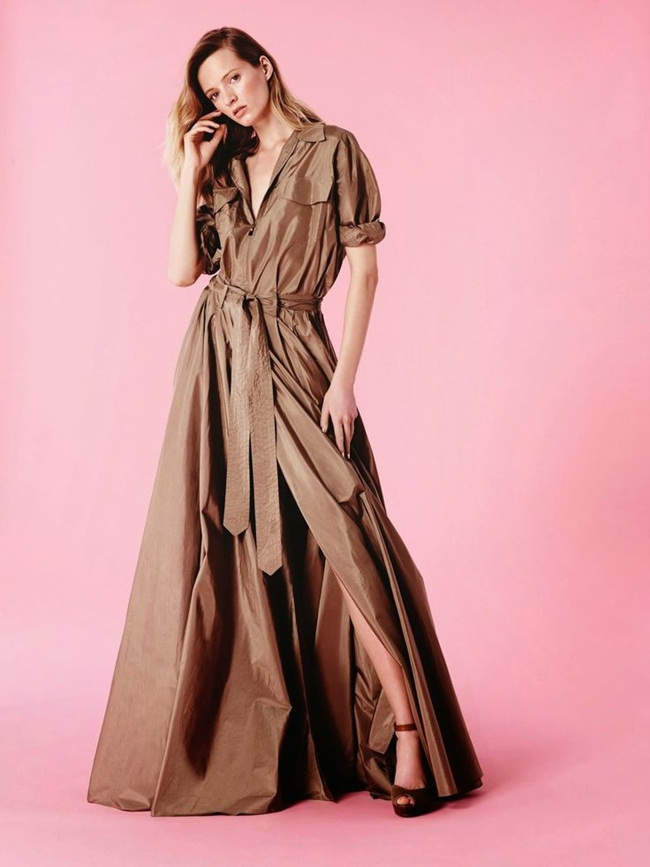 Ralph Lauren Spring 2015 Shimmery Green Metallic Silk Charmeuse Maxi Dress Editorials