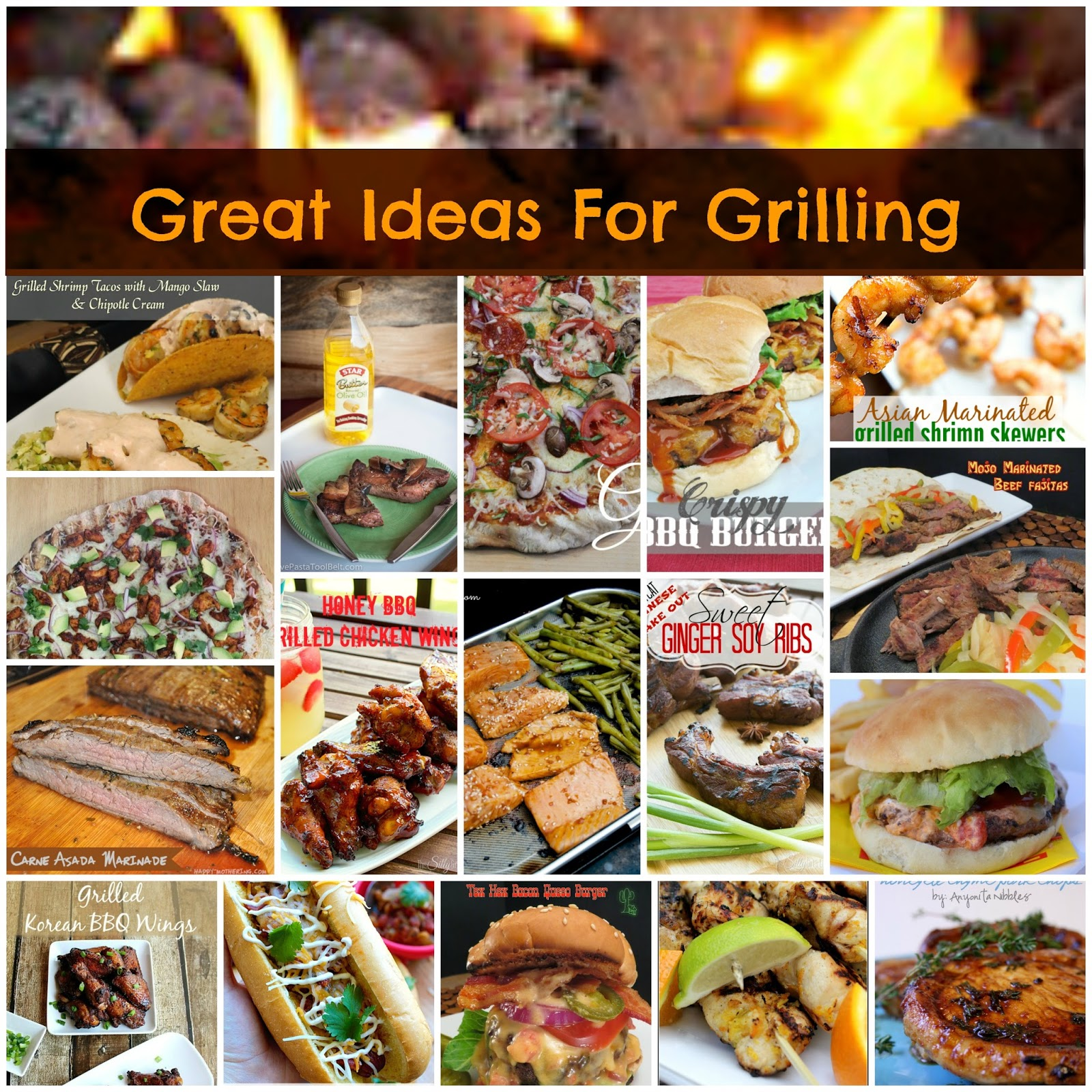 17 Great Ideas for Grilling:  A roundup or 17 recipes to cook on the grill for Memorial Day or anytime you feel like grilling.  From the archives of Great Idea Thursdays.