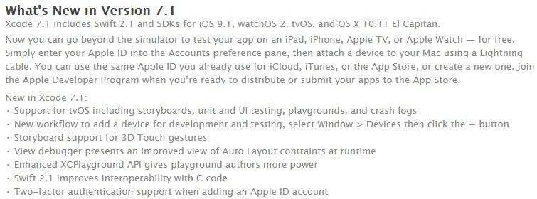 Xcode 7.1 Changelog