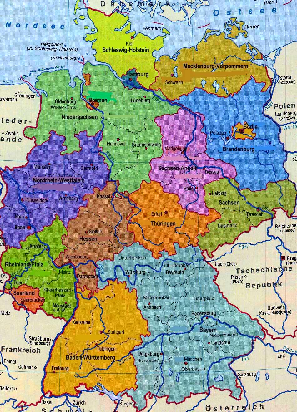 Landkart Deutschland Karte - Bundesrepublik Deutschland Bundesländer Karte