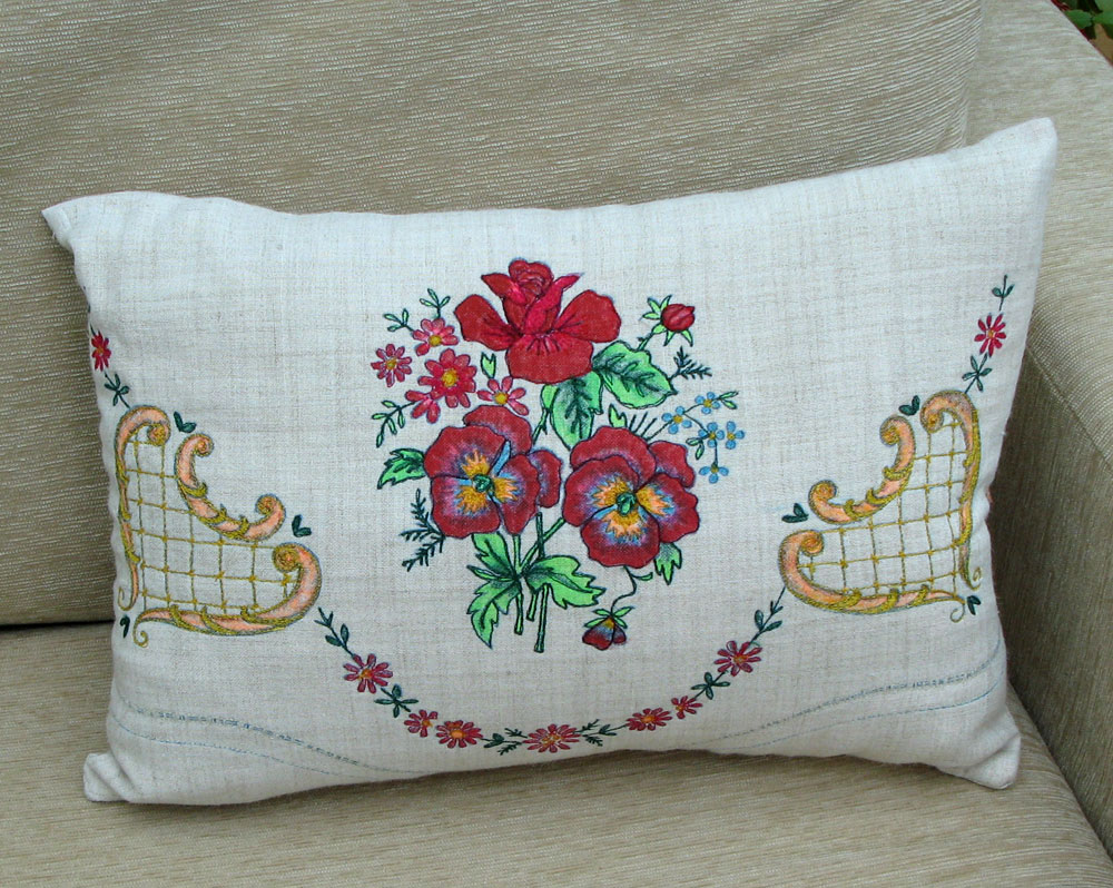 This Is A Cushion I Made Up Using What Should Have Been Chair Back Cover It Vintage Linen Which Has The Design Ready Traced On And Used To Belong