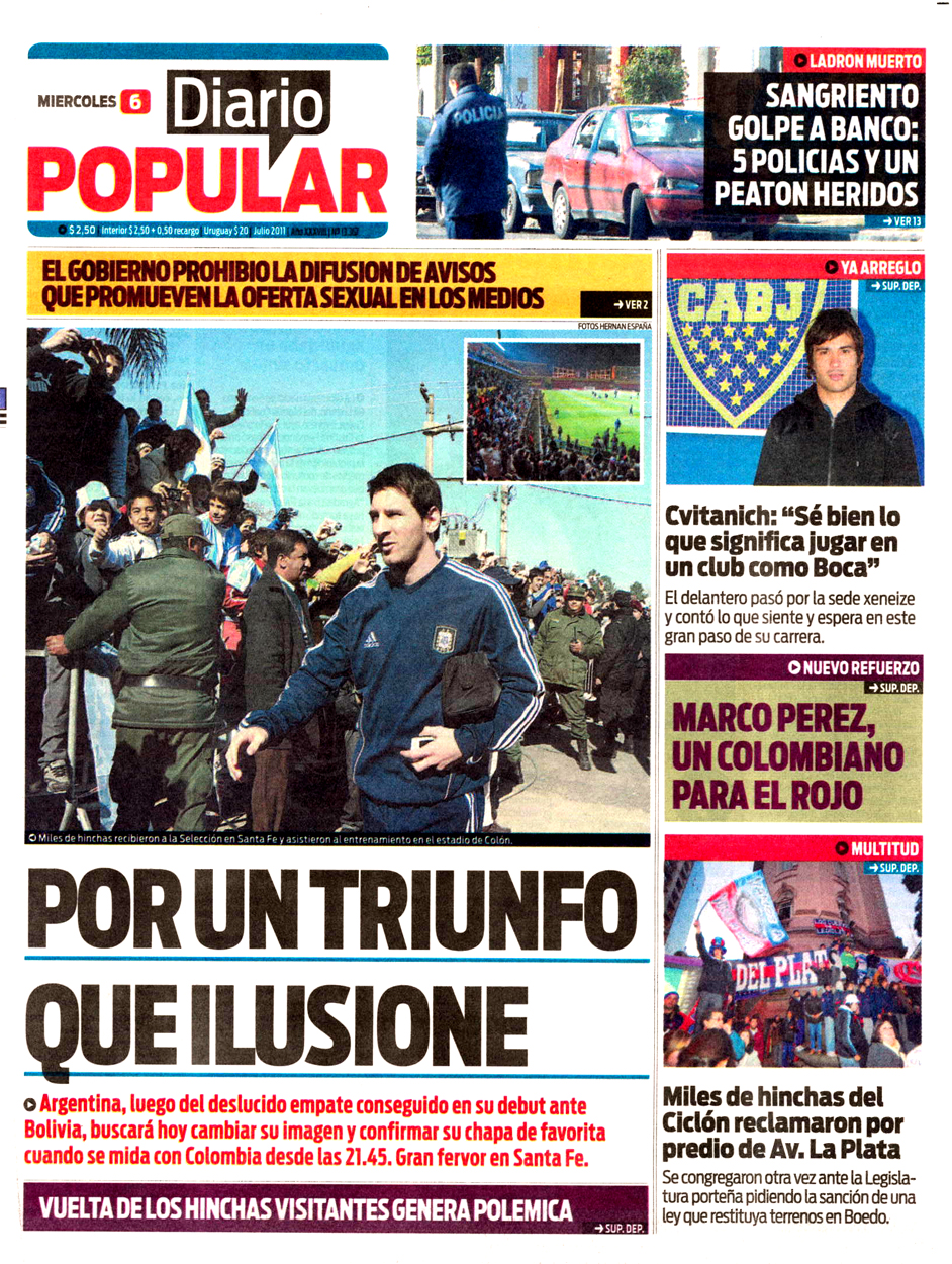 Tapa diarios cronica popular 06 07 11 report show for Diarios del espectaculo