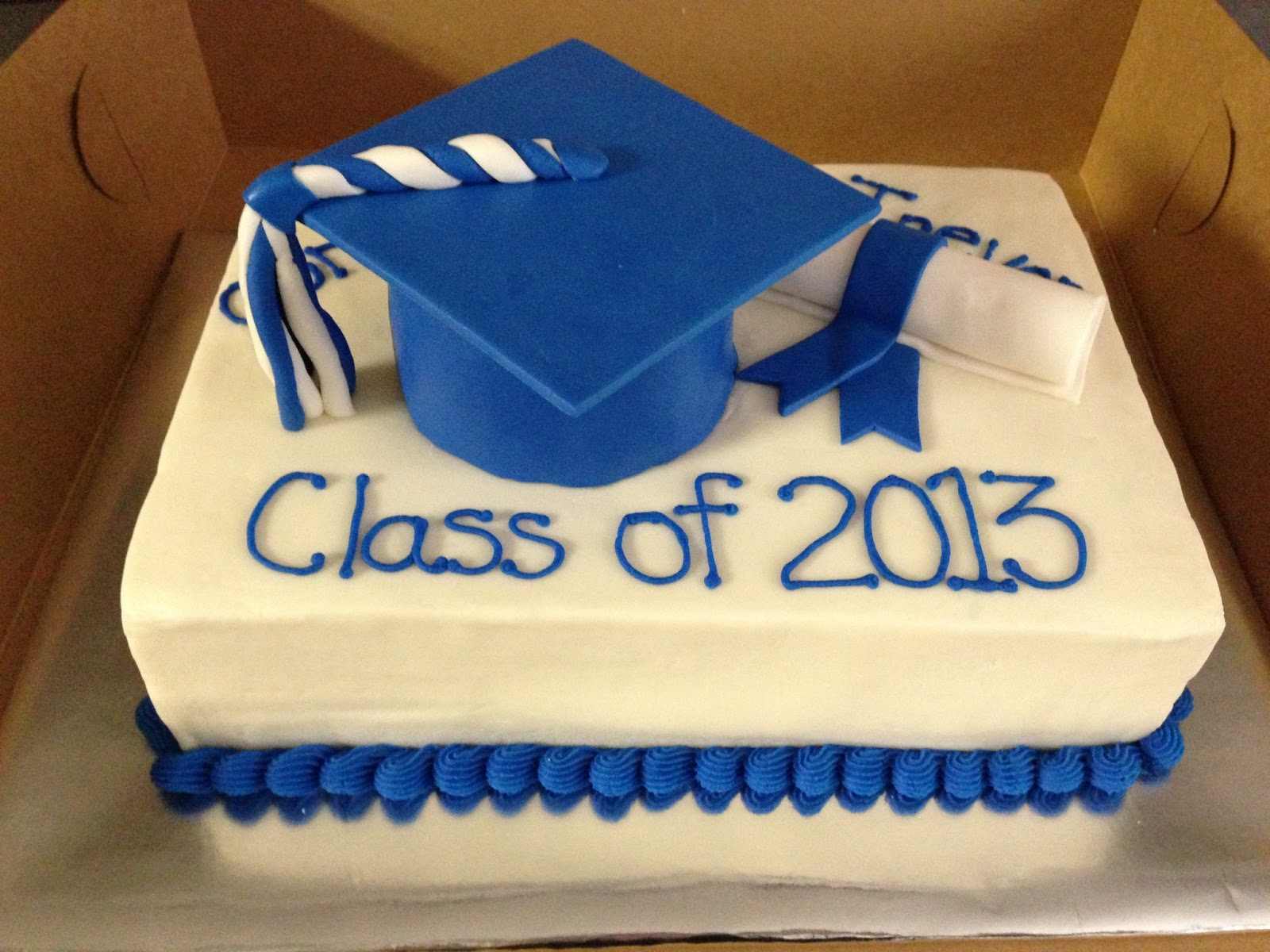 Cakes by Mindy: Royal Blue and White Graduation Cake 9\